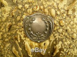 Turn-of-the-century Alligator Vanity Hand Mirror Sterling Silver Monogram Plate
