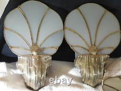 Ultimate 4 Wall Sconces Original Silver Plated Slag Glass Art Deco c1920-1930's