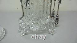 Unusual Early American Pattern Glass (eapg) Pickle Castor, Silver Plate Stand