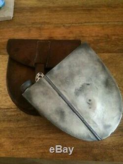 Unusual Silver Plated Sandwich Box with Integral Spirit Flask, in Leather Case