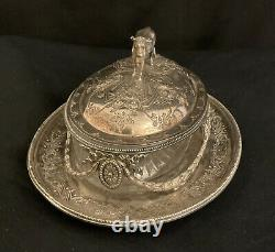 VICTORIAN MARTIN HALL & Co SILVER PLATED COW BUTTER DISH ORIGINAL GLASS LINER M