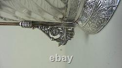 VICTORIAN PERIOD GLASS PICKLE CASTOR, DERBY SILVER PLATE STAND with OWLS
