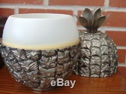 VINTAGE 1970s FRENCH SILVER PLATE RETRO PINEAPPLE ICE BUCKET by MICHEL DARTOIS
