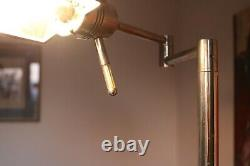 VINTAGE Art Deco chrome plated desk angled lamp reading heavy weighted base