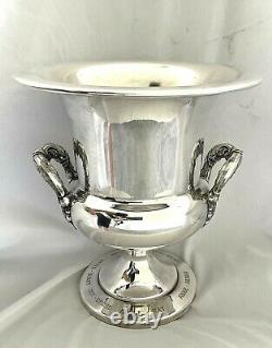 VINTAGE POOLE SILVER-PLATED TROPHY CHAMPAGNE WINE ICE BUCKET with HANDLES & LINER