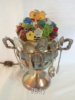 VINTAGE SILVER PLATE LOVING CUP SPOON HOLDER LAMP with CZECH BEADED GLASS TOPPER