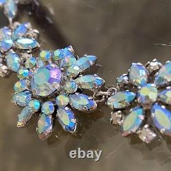 VTG Donald SIMPSON/JewelCrest BLUE Aurora Borealis CRYSTAL Rhinestone NECKLACE
