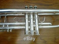 Very Nice Silver Plated Bach Stradivarius 37 Professional Trumpet/ Original Case