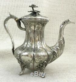 Victorian Coffee Pot Jug Silver Plated Original Antique Melon Shape