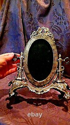 Victorian Italian Ornate Silver Plated Tilt Swival Vanity Table Mirror