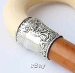 Victorian Malacca Walking Stick Cane. Silver Plated Collar. Crook Handle