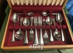 Vintage 44 Piece Canteen Silver Plated Cutlery'Duchess' Original Wooden Canteen