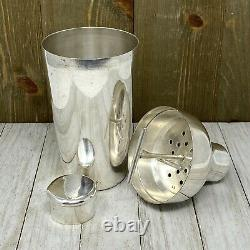Vintage ART DECO French Silver Plate 9 Cocktail Shaker with Interior Ice Break