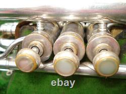 Vintage Antique C. G Conn Cornet Silver Plated Original W Case & Extras