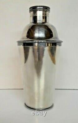 Vintage Art Deco Silver Plated Cocktail Shaker by Michael Seips 2 Pieces 1885c