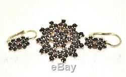 Vintage Bohemian Garnet Cluster Earrings & Brooch Czech Gold Plated Silver 1950s
