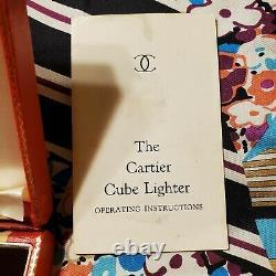 Vintage Cartier Silver Plated Cube Lighter 1972 Flip Top With Original Case Deco