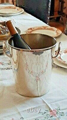 Vintage Champagne Bucket Silver Plate Wine Chiller European Hotel Style