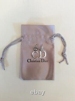 Vintage Christian Dior Silver C & D Drop Pierced Ear Earrings In Original Pouch
