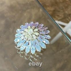 Vintage DONALD SIMPSON Jewel Crest ALEXANDRITE Clear RHINESTONE Starburst BROOCH