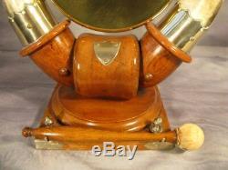 Vintage English Victorian Antique Horn Dinner Gong Silver plate oak base c1900