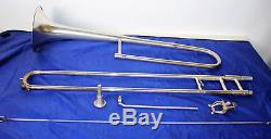 Vintage Frank Holton Paul Whiteman model Silver Plated Trombone in original case