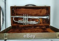 Vintage Fullerton Made Silver Plated Olds Super Star Trumpet with Original Case