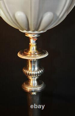 Vintage (George-V) C-1920 silver-plated table lamp hand moulded Opaline shade