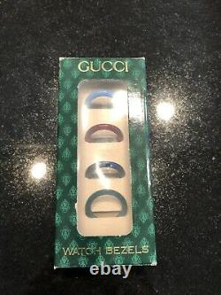 Vintage Gucci 1100L Gold Plated-15 Changeable Bezel Ladies Watch with Original Box