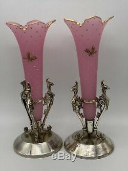 Vintage Handblown Hand-painted Epergnes withMeriden Silver Plated vase 1880-1890s