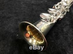 Vintage Martin Handcraft Original Silver Satin Soprano Saxophone, Serial #76998