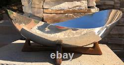 Vintage Mid-Century Modern MCM Modernist Silver Plate Footed Bowl Wooden Base