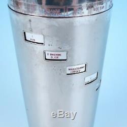 Vintage Napier Art Deco Silver Plate DIAL-A-DRINK Cocktail Shaker Recipe Barware