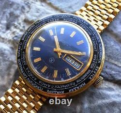 Vintage RAKETA USSR 70s Time Zones cal. 2628. H pilot wrist watch Gold Plated