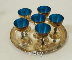 Vintage silver plate & blue enamel Cocktail Martini Shaker 6 glass & tray set