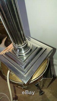 Vintage silver plated heavy Corinthian column lamp light