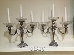 Vtg Baroque By Wallace Candelabra Pair Glass Drip Plates Original Fine MINT