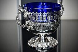 WMF Art Deco1920s, Silver Plated Best Nickel, Butterfly Bonbon, Original Blue Glass