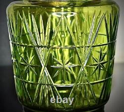 WMF Art Nouveau Best Nickel Silver Plated Biscuit Box Green Cut Crystal Glass