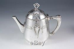 WMF Art Nouveau Jugendstil Secession silver plated tea set on tray German c1905