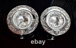 WMF Art Nouveau Jugendstil Silver Plated Pair of Butter Coolers & Rotating Cover