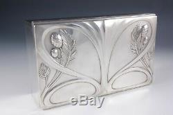 WMF Art Nouveau Jugendstil jewel box silver plate and felt lining German c1905