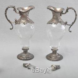 WMF Art Nouveau, Nouveau 2 Glas Carafes in Original Suitcase, Silver Plated, RAR