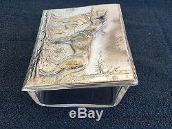 WMF Art Nouveau ORIGINAL Silver Plated Cigar Box with Original Glass