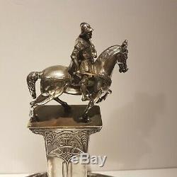 WMF Art Nouveau ORIGINAL Silver Plated Inkstand Bartolomeo Colleoni Statue