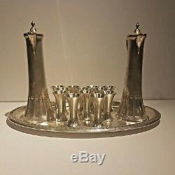 WMF Art Nouveau ORIGINAL Silver Plated Liqueur Service 12 Cups, Jugs, Tray
