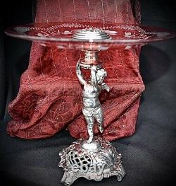 WMF Art Nouveau Silver Plated Cherub holding Hand Engraved Cranberry Glass Tazza