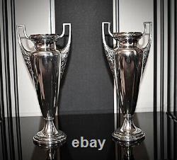 WMF Art Nouveau Silver Plated Pair Of Amphora Vases, Laurel Leaf, Signed c1903
