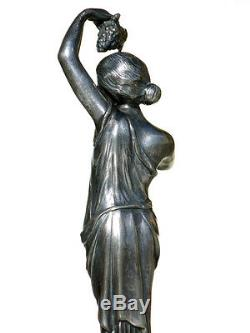 WMF Art Nouveau female jugendstil silver plated Albert Mayer metalware dish