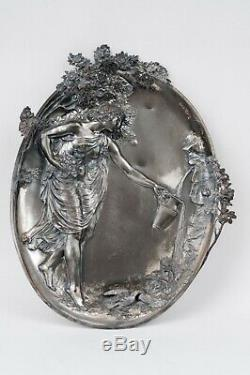WMF Art Nouveau silver plated pewter plaque wall